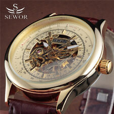 Sewor Men's Fashion Automatic Mechanical Leather Strap Gold Steel Skeleton Watch