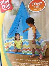 Play Day Kids Travel Teepee - 5 Feet Tall - Blue Indoor Camping Kids Fort