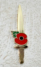 ROYAL MARINES COMMANDO FIGHTING DAGGER KNIFE MOD, BRITISH ARMY POPPY Pin badge