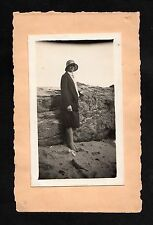 C1930s photo of a lady standing wearing a hat - Mounted on a greeting card