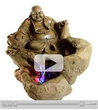 Lucky Buddha Sitting on Rock with LED Light Indoor Water Fountain - 22121