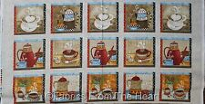 """Coffee House Cups Pots Cookies  7"""" BLocks  23"""" Panel Henry Glass Cotton Fabric"""