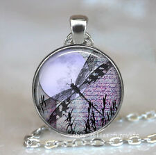 New Dragonfly  Cabochon Silver plated Glass Chain Pendant Necklace #44