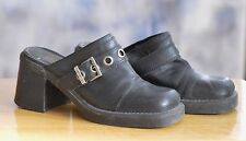 "Vtg HARLEY DAVIDSON Clogs Shoes Boots Size 8.5 Black Leather Upper 3"" Heel"