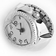 Silver Tone Quartz Heart Pocket Finger Ring Watch N3