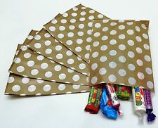 50 Gold & White Reverse Spot Paper Sweet Bags Wedding Any Occasion Pick 'n' Mix.