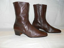 NEW VTG MORESCHI Cuban Heel, Brown Womens Leather boots Size 8.5 9 US 10.5 EU 42