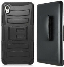 HEAVY DUTY BLACK ARMOR CASE BELT CLIP HOLSTER STAND FOR VERIZON SONY XPERIA Z3V