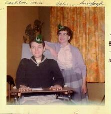 Old Vintage Photograph Man & Woman Wearing St. Patrick's Day Hats Hospital 1962