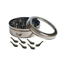 Tabakh Stainless Steel Masala Dabba Spice Container Box w/ 7 Spoons - Clear Lid