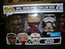 FUNKO POP STAR WARS 3 PACK UNHOODED EMPEROR, TARFUL, AND CLONE WALMART EXCLUSIVE