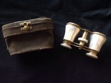 Antique Opera Glasses Binoculars Lefils Paris Brass and Mother of Pearl  W/ Case