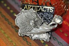 JJ Jonette Vintage Signed Wizard reaching for crystal Pewter Brooch Pin NEW RARE