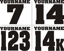 3 Motorcycle Name Number Plate Race Decals Stickers MX ATV SX BMX Dirt Bike Kart