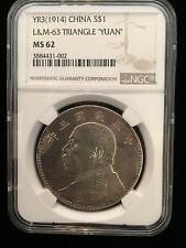 1914 YR3 CHINA SILVER $1 L&M-63 TRIANGLE YUAN NGC MS 62 Pop.19