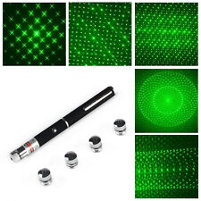 New Green Powerful 5in1 Laser Pointer Pen 5mw 532nm Laser Flashlight+5 Star Caps
