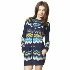 Missoni For Target Long Sweater Cardigan Hooded Blue Zig Zag Anorak NEW M