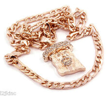 Jesus Piece Charm Micro Pendant Figaro Chain Necklace Jewelry Rose Gold Plated