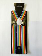 RAINBOW Adjustable Slim Unisex Men Ladies Trouser Braces Suspenders Clip On