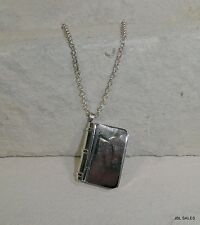 RARE STERLING SILVER TAXCO SECRET COMPARTMENT BOOK NECKLACE SIGNED OPENS!