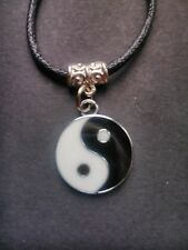 Black waxed cord Yin Yang Chinese Feng Shui necklace / choker Ying Yang Peace