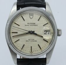 VINTAGE Tudor Prince Oysterdate 74000 Mens 34mm Automatic Steel Watch Linen Dial