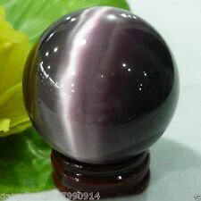 Rare Quartz Purple Cat Eye Crystal Healing Ball Sphere 40mm Stand