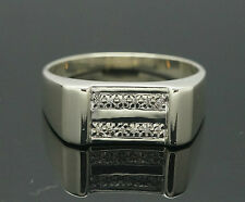 9ct White Gold Diamond(0.05ct) Cluster Signet Ring (Size Z +2) 16x9mm