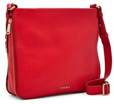 FOSSIL Preston Real Red Peblled Leather Crossbody Expandable Shoulder Bag NWT