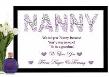 Word Art Print for NANNY NAN NANNIE NANNA personalised gift Birthday Anniversary