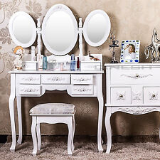 XXL MAKE-UP TABLE DIANA COSMETIC VANITY CUPBOARD WITH STOOL WHITE VINTAGE D