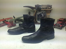 SNIP TOE DISTRESSED DARK BROWN LEATHER ZIP UP ENGINEER BOSS BEATLE BOOTS 43 D