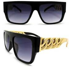 New Unisex Celebrity Style Thick Gold Chain look Sunglasses Gloss Black Sexy