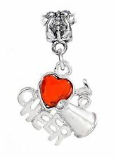 Love to Cheer Red Heart Cheerleader Dangle Charm fits European Bead Bracelets