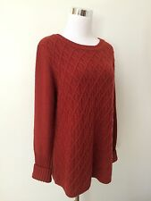 J Crew Factory Merino Wool Cable Knit Tunic Sweater Red Rust Large (12 - 14)