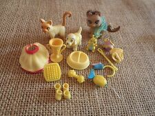 "Polly Pocket Lot ""Colors of the Rainbow"" Yellow Pets Cat Dog Accessories  6-74"