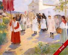 CATHOLIC PROCESSION CHAPEL OF VINYET SITGES SPAIN PAINTING ART REAL CANVAS PRINT