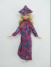 Handcrafted Barbie Outfit Traditional Vietnamese vintage style costume Dress #05