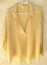 "~EILEEN FISHER sz 3X ""100% LINEN"" ITALIAN FABRIC PEASANT BLOUSE SHIRT~ 60"" BUST"