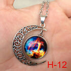 New arrival Colorful Galaxy Glass Hollow Moon Shape Pendant Tone Necklace H-12*