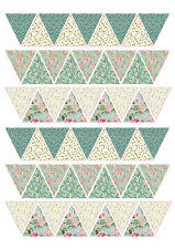 Edible Bunting Flags Vintage Shabby Chic Floral Cake Cupcake Topper Wedding Baby