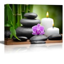 """Canvas- zen basalt stones and orchid Spa,Beauty and Calmness Concept - 24"""" x 36"""""""