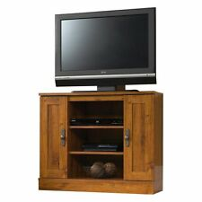 Corner Entertainment Stand, Abbey Oak Finish TV Stand Media Storage Furniture