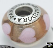 Authentic Pandora 'Pink Hearts' Murano Glass Charm Bead 790660 925 ALE