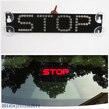 Red STOP Logo LED Car SUV Rear Windshield Sucker Tail Warning Signal Brake Light