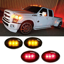 Ford F350 F-Series 4pc LED Fender Bed Side Marker Lights Smoked Lens (Amber Red)