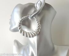 Gorgeous large vintage MATT silver tone acrylic creole style hoop earrings