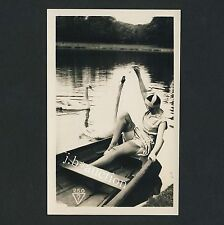 Woman feeding Swan upskirt on boat * vintage 10s risque biederer ostra rppc #250