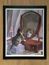 Fairest of them All - Frank Paton, 20''x16'' frame, vintage 1991 cat print