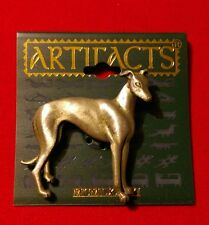 Pewter Greyhound Whippet Dog Pin Brooch Jonette Jewelry Artifacts Signed JJ NOS